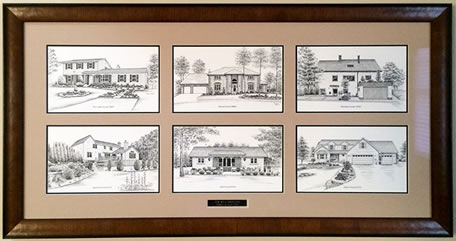 Six custom portraits of homes framed