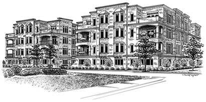 Pen and ink portrait of condominium building
