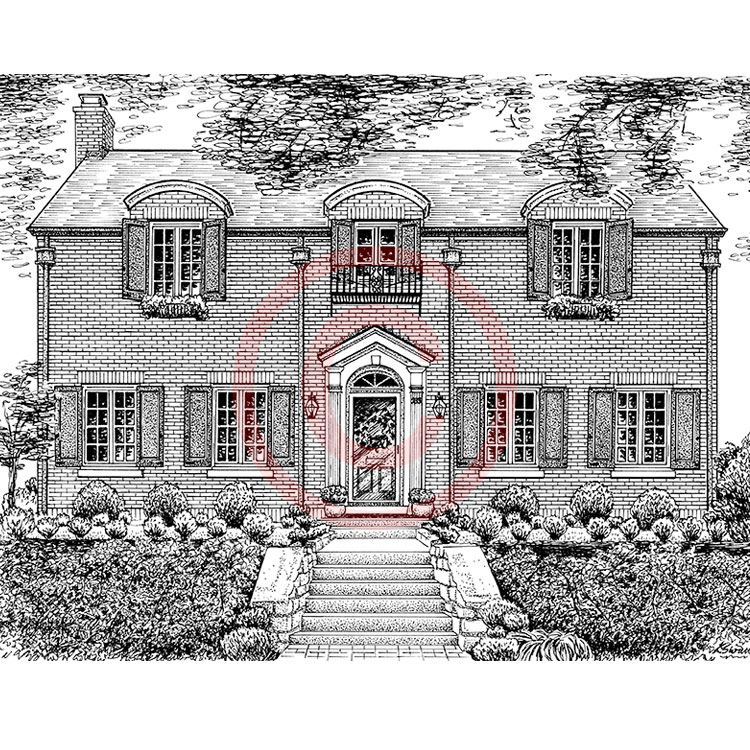 pen and ink brick house portrait drawing - Drawing For Home