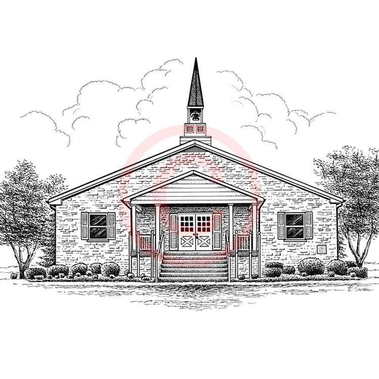 Portrait Of Church With Steeple
