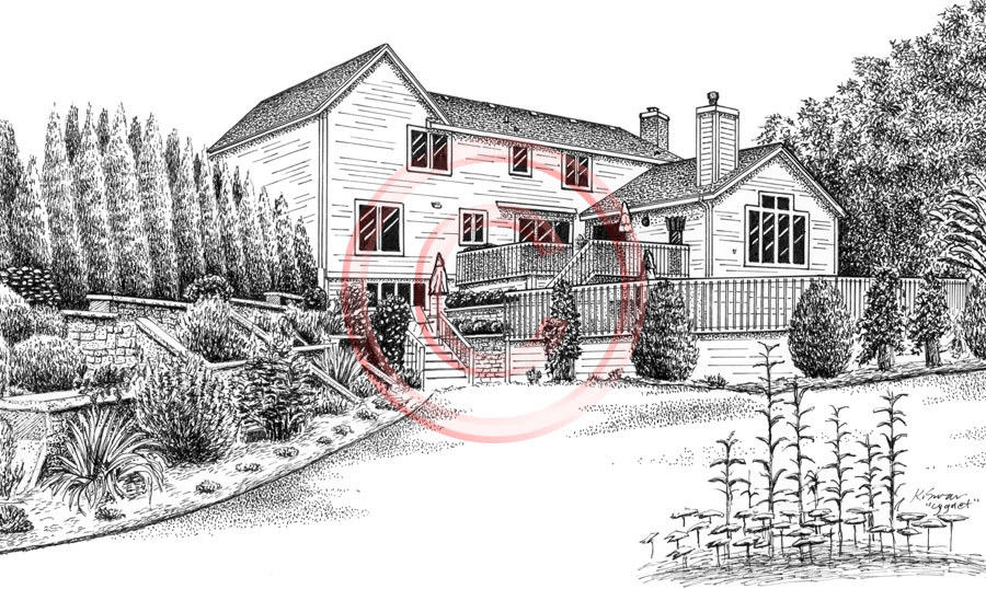 Home with patio landscaping - pen & ink portrait by Kelli Swan