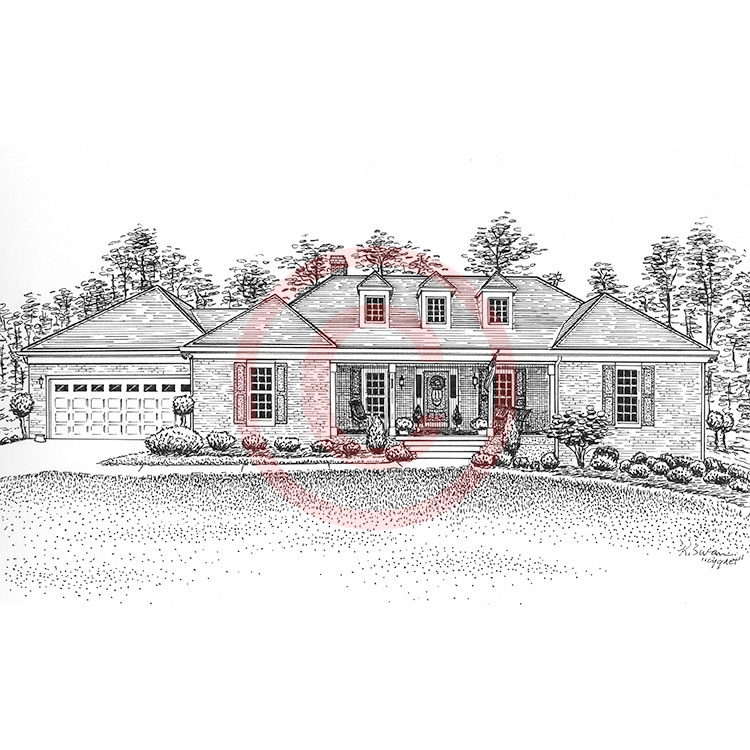 Pen and ink artist kelli swan custom portraits of houses Drawing modern houses