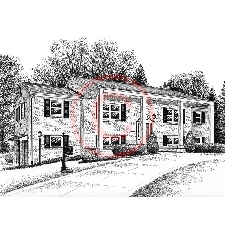 Pen And Ink Brick Home Drawing