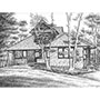 Pen and Ink Drawing of Lake Cottage House
