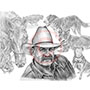 Cowboy Pencil Portrait Drawing