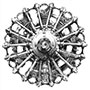 Custom pencil drawing of vintage biplane radial engine