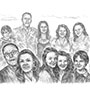 Custom pencil drawing of family at Beach with Husband, Wife, Daughters, Son