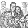 Custom pencil drawing of family with bride, groom, children