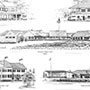 Custom pencil drawing of several gold course clubhouses