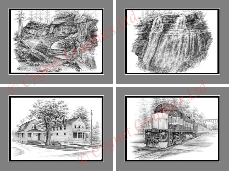 Pencil drawings of the Cuyahoga Valley National Park: CVNP Headquarters in Jaite, Brandywine Falls, Virginia-Kenall Ledges - Approach to Ice Box Cave and Locomotive 4241 from the Scenic Railroad at the Brecksville Station.