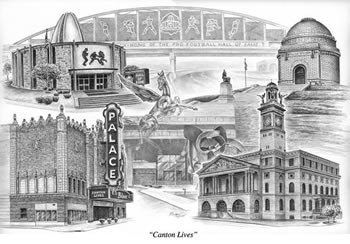 Canton Ohio Stark County Landmarks Pencil Drawing by Kelli Swan