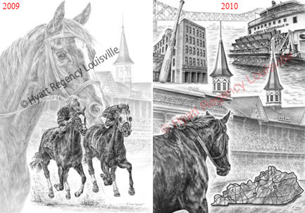 Louisville, KY landmarks art for the Kentucky Derby - Drawing by Kelli Swan