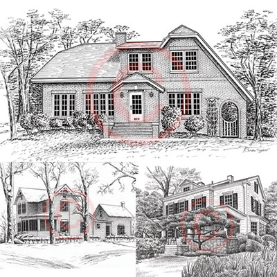 Pen and Ink house portraits in black and white by Kelli Swan