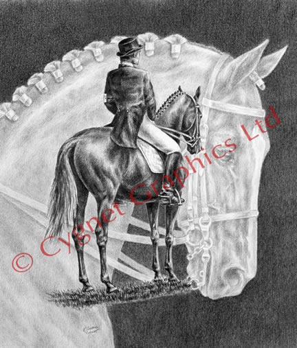 """On Centerline"" dressage horse drawing by Kelli Swan"