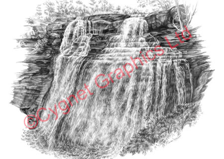 """Brandywine Falls"" from the Cuyahoga Valley National Park pencil drawing series by Kelli Swan"