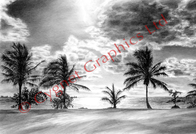 Black and white beach sunset - pencil drawing by Kelli Swan
