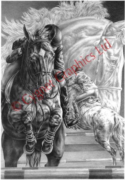 Jumping horse montage - pencil drawing by Kelli Swan