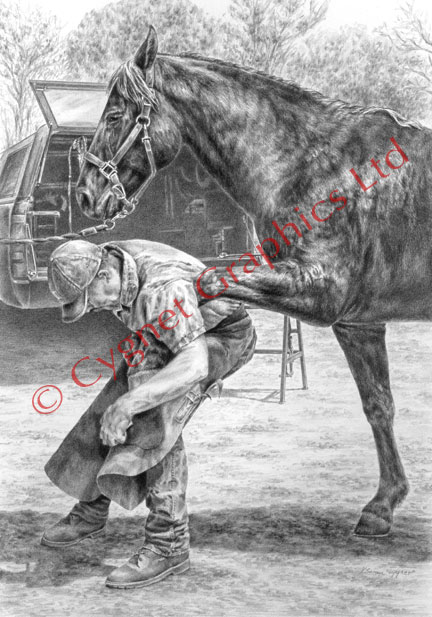 Farrier working on horse - pencil drawing by Kelli Swan
