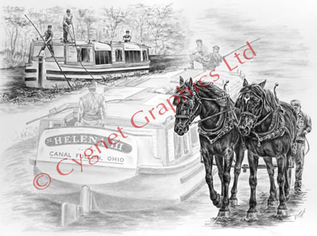 Two draft horses pulling canal boat drawing from Canal Fulton OH