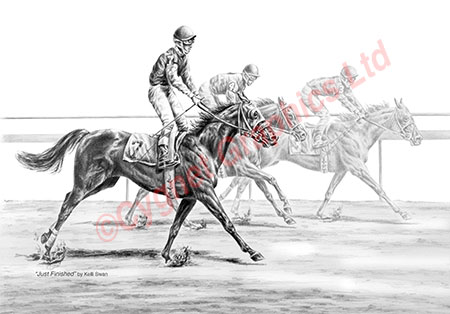 """Just Finished"" Thoroughbred horse drawing by Kelli Swan"
