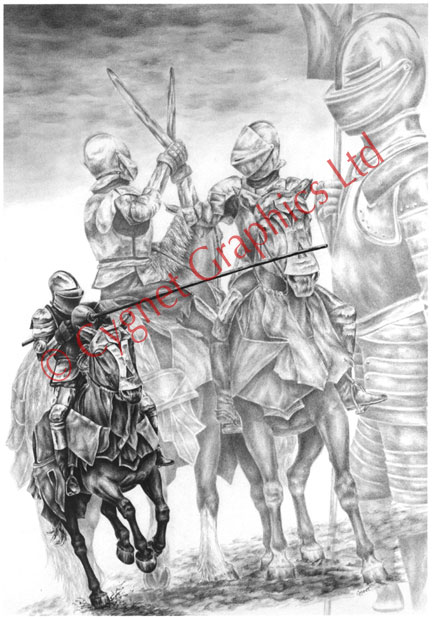 Medieval knights jousting - pencil drawing by Kelli Swan
