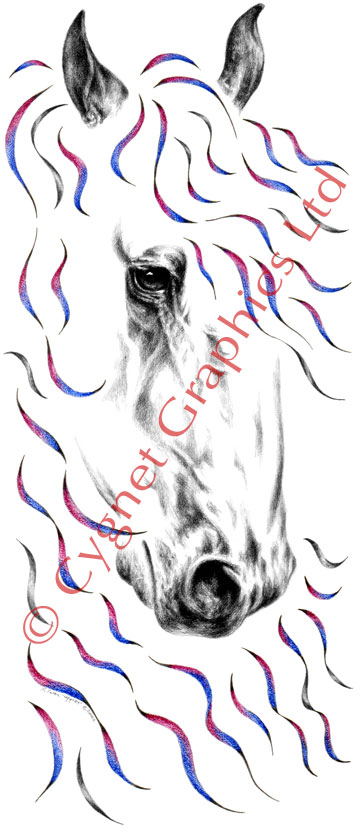 """Nobility"" colorful contemporary Friesian horse drawing by Kelli Swan"