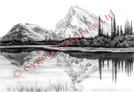 Lake reflections of mountains - pencil drawing by Kelli Swan
