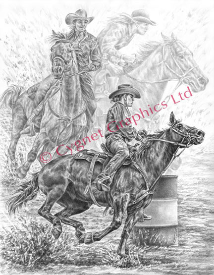 Rodeo cowgirl barrel racing - pencil drawing by Kelli Swan