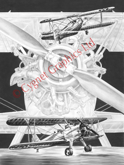 """Stearman"" aviation biplane drawing by Kelli Swan"