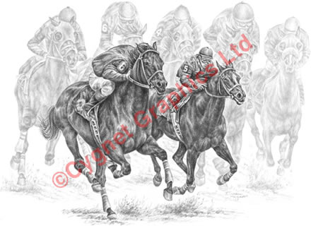 Two racing horses in dead heat - pencil drawing by Kelli Swan