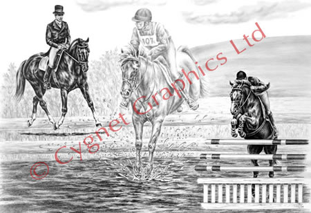 """Ultimate Challenge"" eventer horse drawing by Kelli Swan"