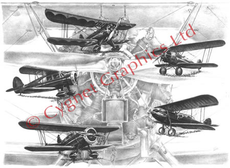 Wacos Biplane montage - pencil drawing by Kelli Swan