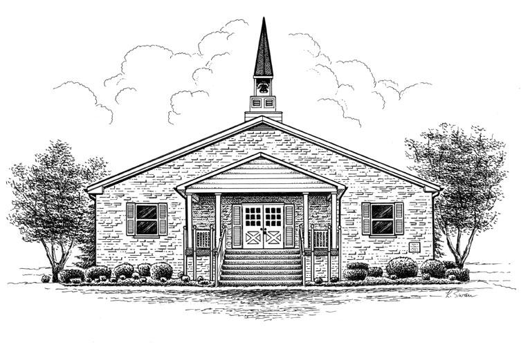 Church Pen Ink Drawings Buildings Sketch Coloring Page