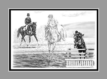 "Limited Edition Eventing Horse Print ""Ultimate Challenge"" in Black & White, by Kelli Swan"