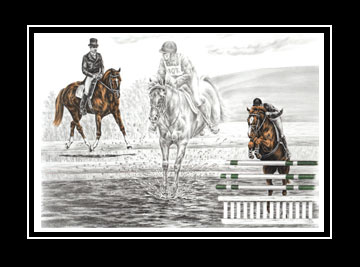 "Limited Edition Eventing Horse Print ""Ultimate Challenge"" hand-tinted with color, by Kelli Swan"