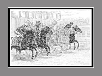 "Limited Edition Race Horse Print ""Odds Are..."" in Black & White, by Kelli Swan"
