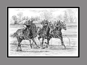 "Limited Edition Horse Race Print ""Neck and Neck"" in Black & White, by Kelli Swan"