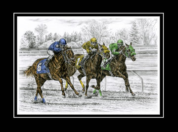 "Limited Edition Horse Race Print ""Neck and Neck"" hand-tinted with color, by Kelli Swan"