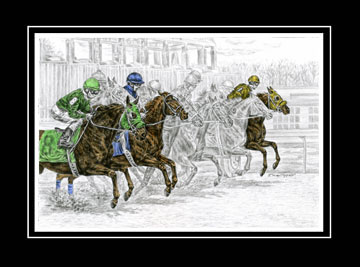 "Limited Edition Race Horse Print ""Odds Are..."" hand-tinted with color, by Kelli Swan"