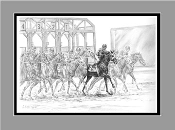 "Limited Edition Tb Horse Racing Print ""The Favorite"" in Black & White, by Kelli Swan"