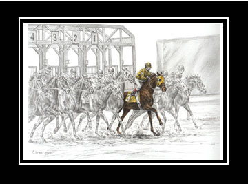 "Limited Edition Tb Horse Racing Print ""The Favorite"" hand-tinted with color, by Kelli Swan"