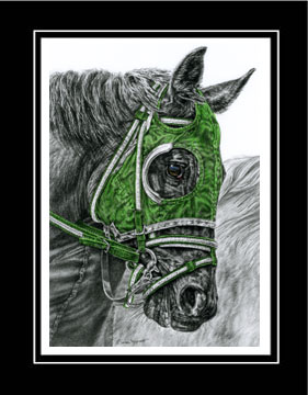 "Limited Edition Race Horse Print ""Ready, Set ... GO!"" hand-tinted with green color, by Kelli Swan"