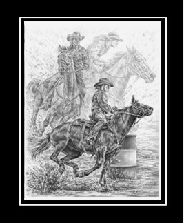 "Limited Edition Barrel Racing Print ""Running the Cloverleaf"" in Black & White, by Kelli Swan"