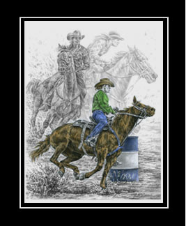 "Limited Edition Barrel Racing Print ""Running the Cloverleaf"" hand-tinted with color, by Kelli Swan"