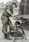 """A Man and His Trade"" - farrier blacksmith w/forge pencil drawing"