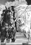 """Clean Round"" - jumper horses pencil drawing"