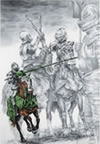 """Knight Time"" - Renaissance/Medieval Knights Joust horses pencil drawing"