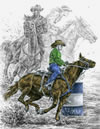 """Running the Cloverleaf"" - rodeo barrel race horses pencil drawing"