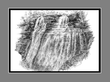 "Limited Edition ""Brandywine Falls"" from the Cuyahoga Valley National Park drawing series by Kelli Swan"